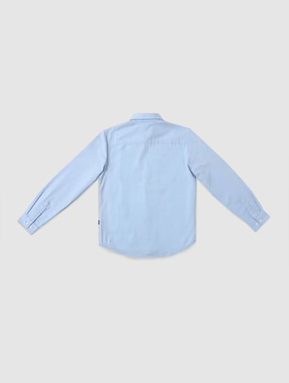 Junior Light Blue Graphic Print Full Sleeves Shirt