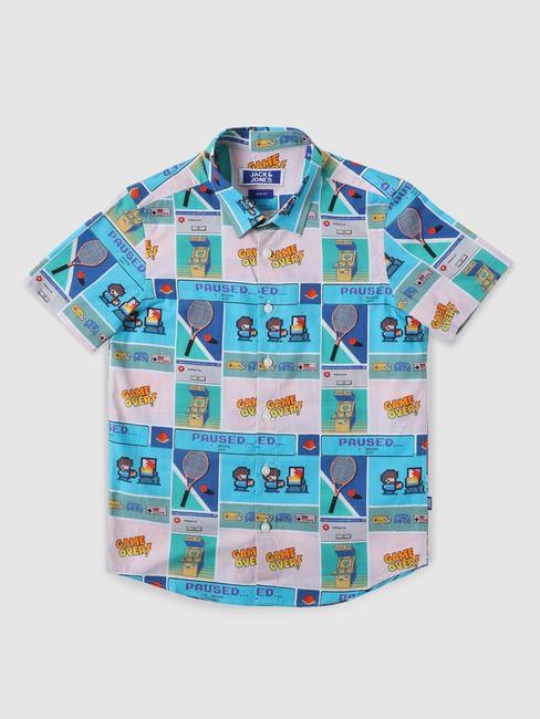 Boys Blue Gaming Print Short Sleeves Shirt