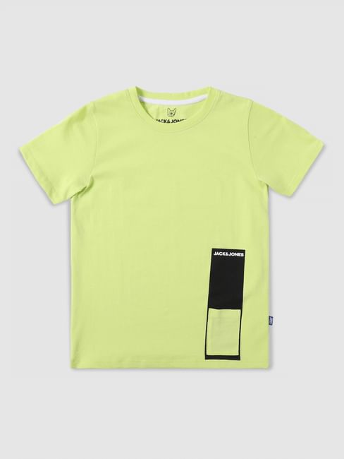Junior Yellow Graphic Print Crew Neck T-shirt