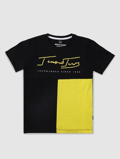 Boys Black Colourblocked Crew Neck T-shirt