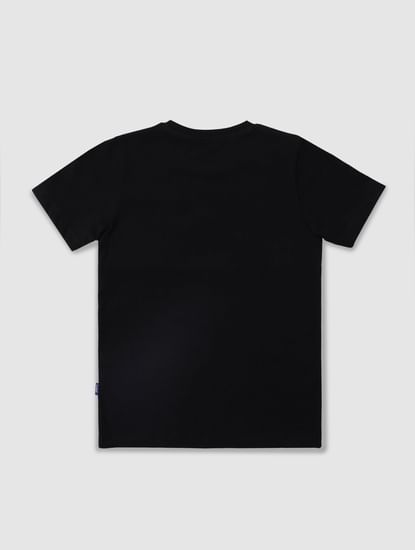 Junior Black Colourblocked Crew Neck T-shirt