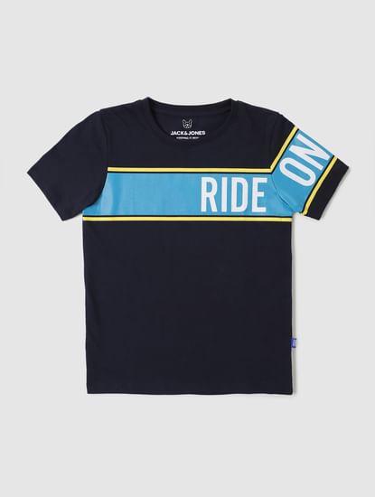 Boys Dark Blue Graphic Print Crew Neck T-shirt