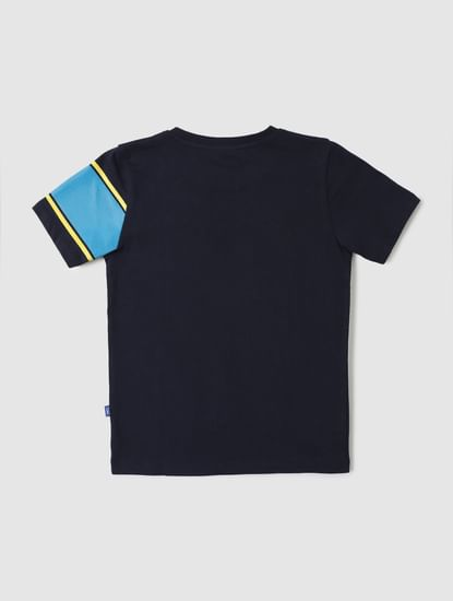 Junior Dark Blue Graphic Print Crew Neck T-shirt