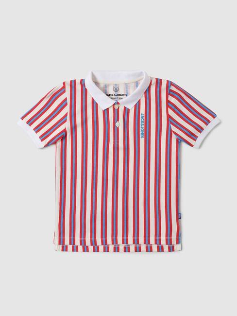 Boys Multi-coloured Striped Polo Neck T-shirt