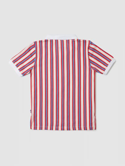 Junior Multi-coloured Striped Polo Neck T-shirt