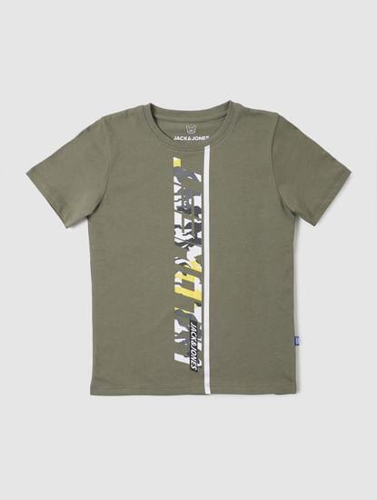 Boys Green Graphic Print Crew Neck T-shirt