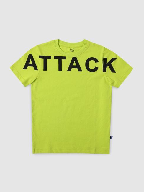 Boys Green Text Print Crew Neck T-shirt