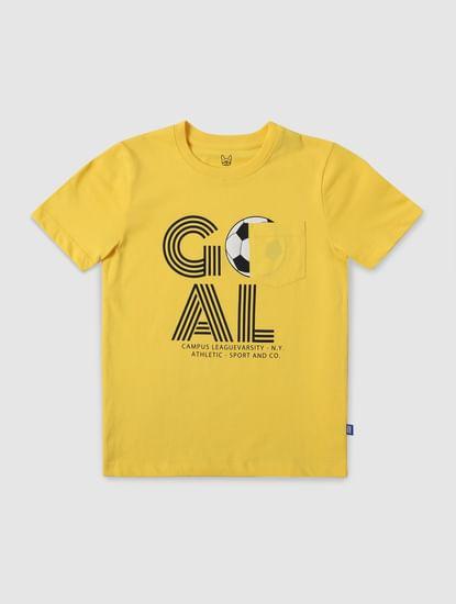 Boys Yellow Goal Print Crew Neck T-shirt