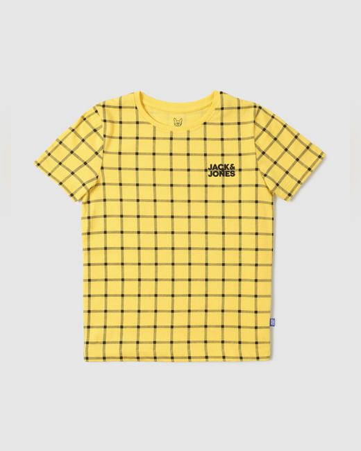 Boys Yellow Check Crew Neck T-shirt