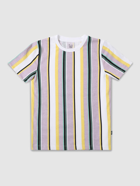 Junior Multi-coloured Striped Crew Neck T-shirt