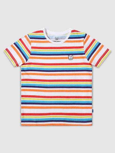 Boys Multi-coloured Striped Crew Neck T-shirt