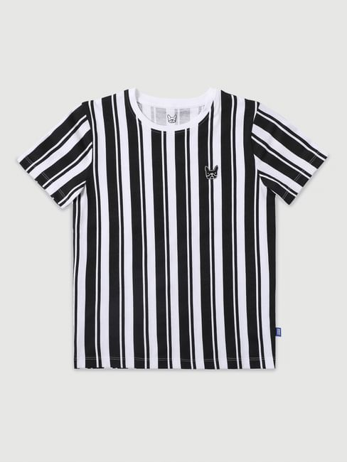 Boys Black & White Striped Crew Neck T-shirt