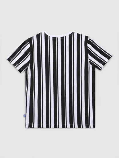 Junior Black & White Striped Crew Neck T-shirt