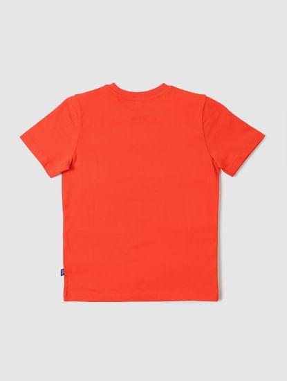 Boys Orange Logo Print Crew Neck T-shirt
