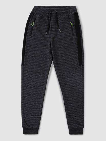 Junior Dark Grey Striped Sweatpants