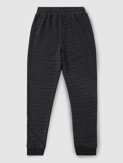Boys Dark Grey Striped Sweatpants