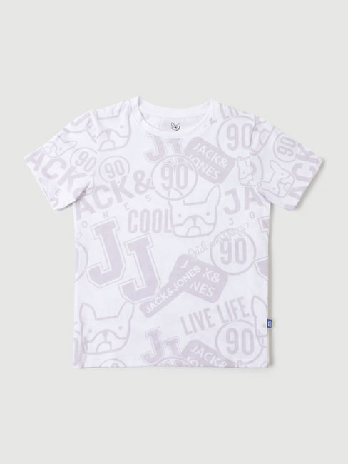Junior White Graphic Print Crew Neck T-shirt
