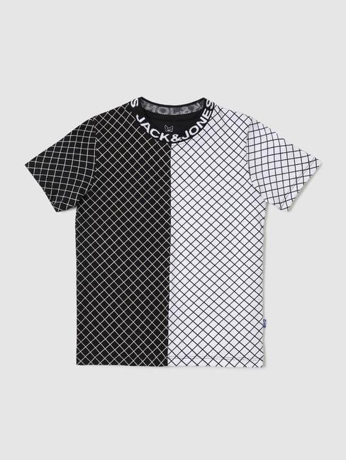 Junior Black & White Check Crew Neck T-shirt