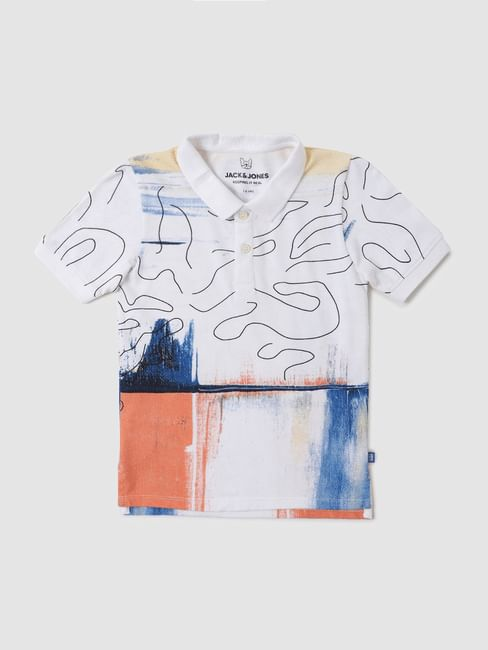 Junior White Abstract Print Polo Neck T-shirt