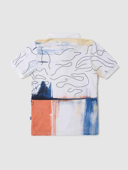 Boys White Abstract Print Polo Neck T-shirt
