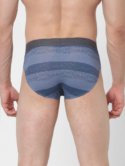 Pack of 2 Printed Briefs - Blue & White