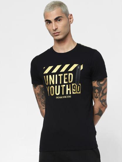 Black Front Zip Crew Neck T-shirt