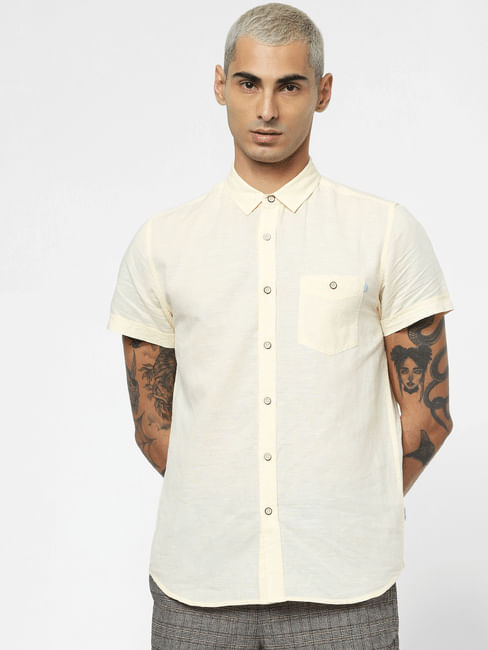 Light Yellow Linen Short Sleeves Shirt