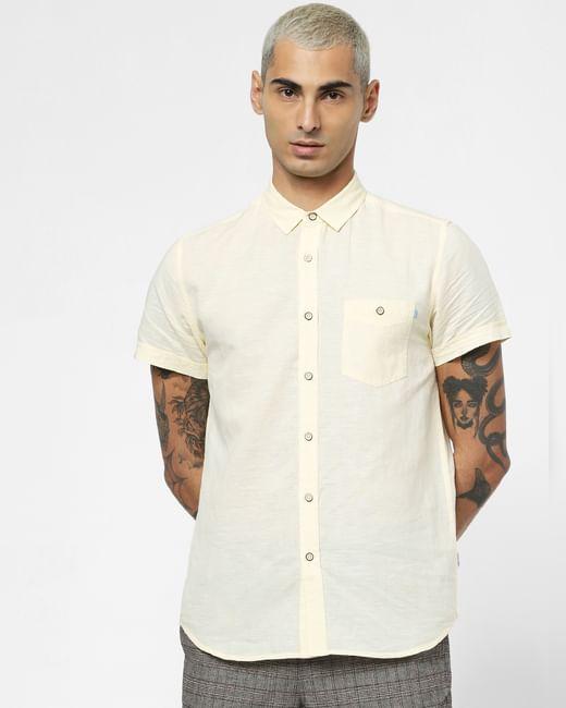 Light Yellow Linen Short Sleeves Shirt