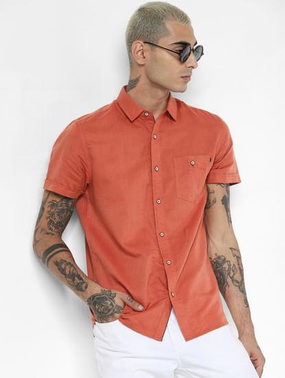 Rust Linen Short Sleeves Shirt