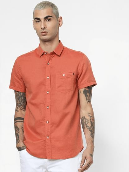 Rust Linen Short Sleeves Shirt