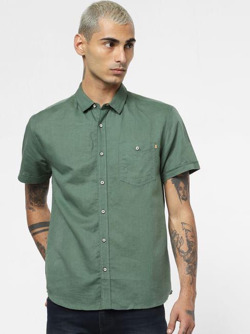 Green Linen Short Sleeves Shirt