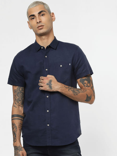 Dark Blue Linen Short Sleeves Shirt