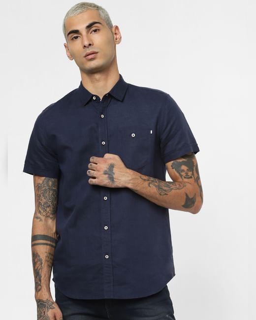Dark Blue Linen Short Sleeves Shirt