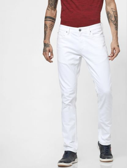 'PROTECT' White Low Rise Ben Skinny Jeans