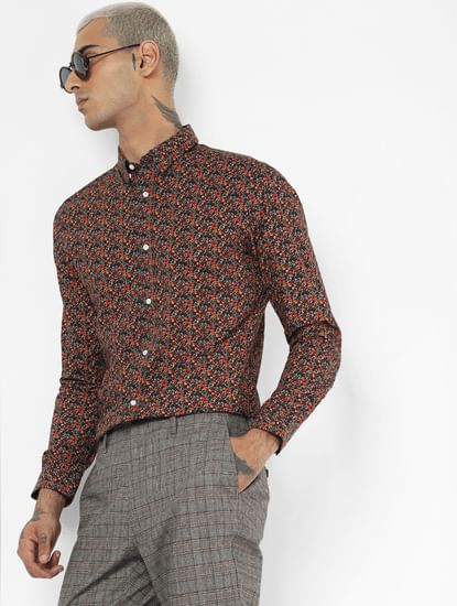 Red All Over Print Full Sleeves Shirt