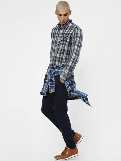 Yellow Check Washed Full Sleeves Shirt