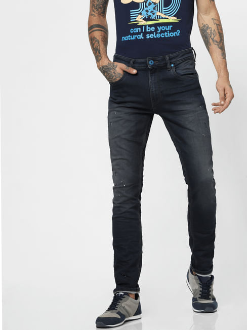 Dark Blue Low Rise Dyed Ben Skinny Jeans