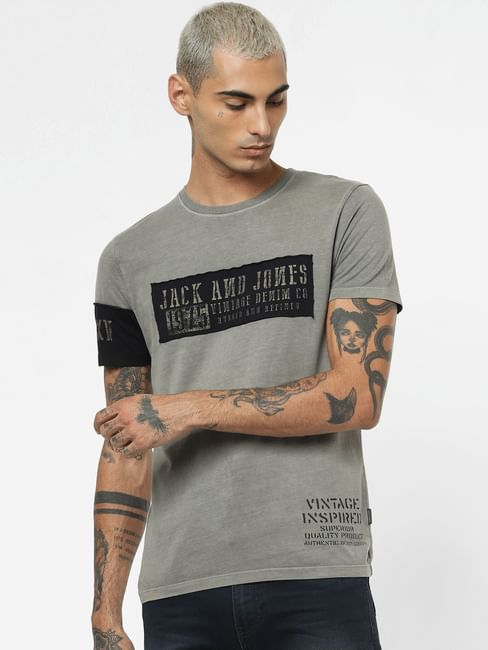 Grey Dyed Crew Neck T-shirt