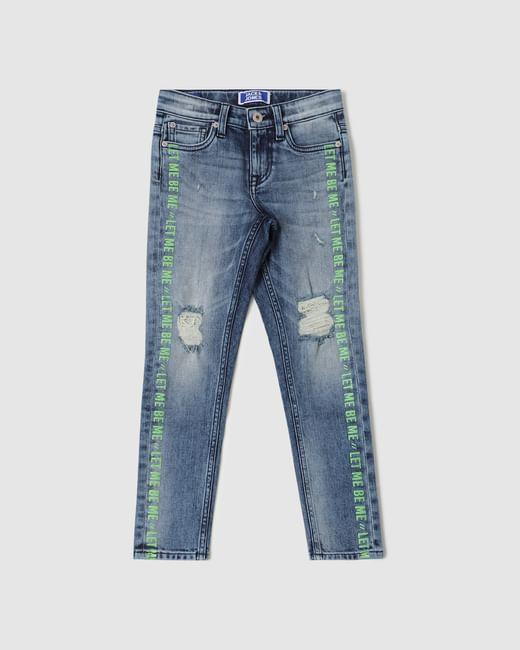 Boys Blue Low Rise Ben Distressed Slim Fit Jeans