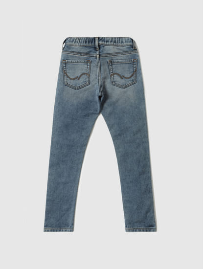 Junior Blue Low Rise Glenn Drawstring Slim Fit Jeans