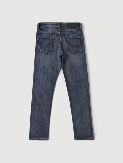 Blue Low Rise Glenn Slim Fit Distressed Jeans