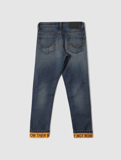 Junior Blue Low Rise Clark Tape Detail Slim Fit Jeans