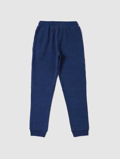 Boys Dark Blue All Over Print Sweatpants