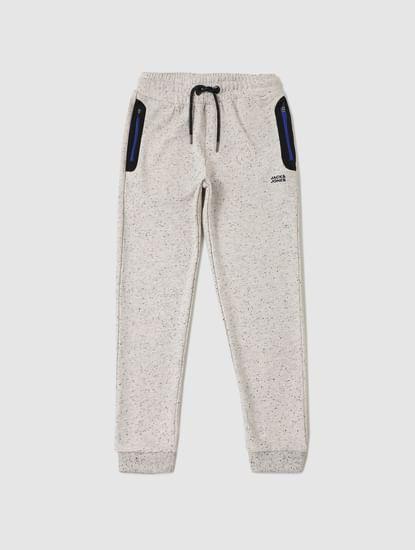 Junior White All Over Print Sweatpants