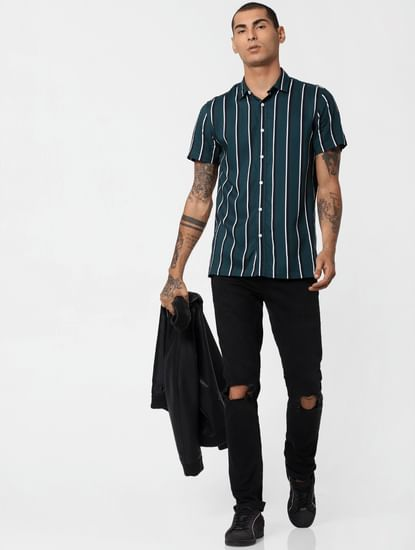Green Striped Short Sleeves Shirt