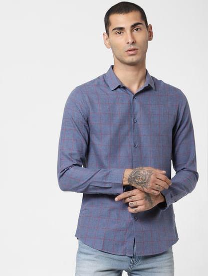 Blue Check Full Sleeves Shirt