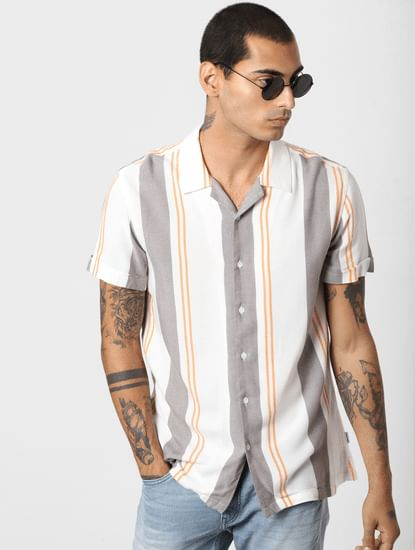 White Striped Short Sleeves Shirt