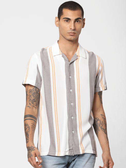 White Striped Short Sleeves Shirt