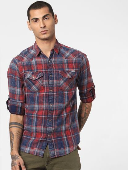 Red Washed Check Full Sleeves Shirt