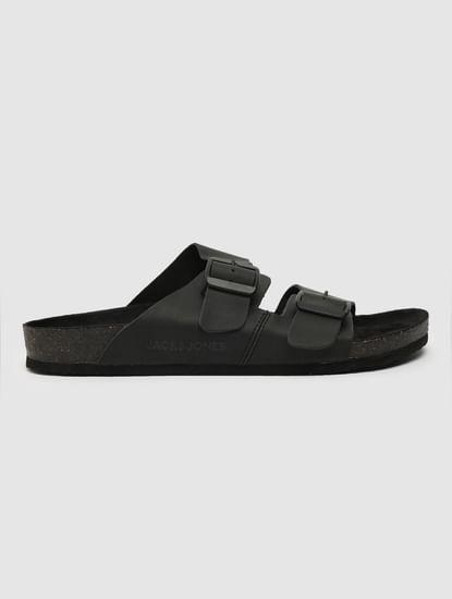 Black Leather Slip-On Sandals